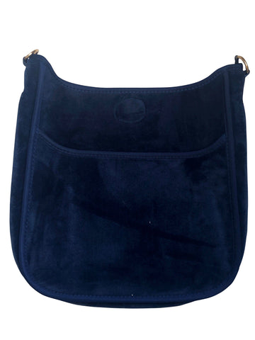 AHDORNED Velvet Messenger - Navy/Gold Hardware - NO STRAP ATTACHED - See Straps available at The Good Life Boutique