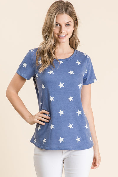 Casual Star Print Top - Denim