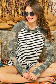 Striped Camo Contrast Double Hoodie Top