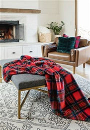 "Fabulous Furs Holiday Collection Throw Red Plaid 60"" X 72"" available at The Good Life Boutique"