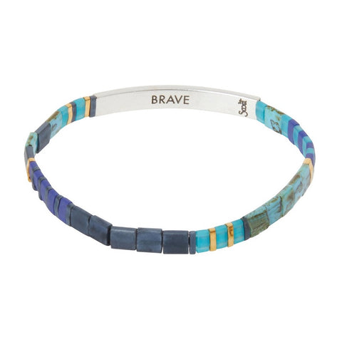 Scout Curated Wears Good Karma Miyuki Bracelet - Brave - Cobalt/Silver available at The Good Life Boutique