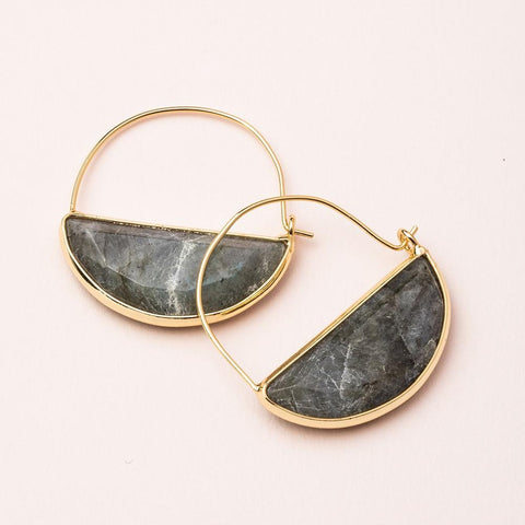 Scout Curated Wears Stone Prism Hoop - Labradorite/Gold available at The Good Life Boutique