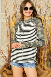 Adora Striped Camo Contrast Double Hoodie Top available at The Good Life Boutique