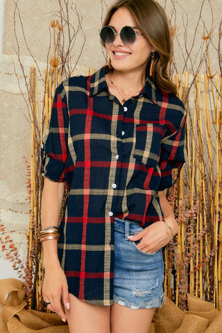 Plaid Button Down Shirts Dress w/Long Sleeve - Navy Red