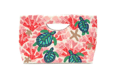 Cut Out Handle Clutch Ivory/Coral/Green