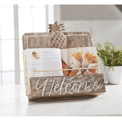 CARVED WELCOME COOKBOOK STAND
