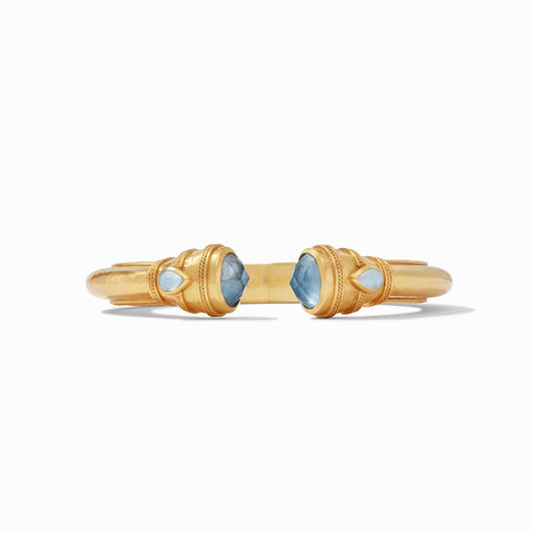 Julie Vos Julie Vos - Cassis Demi Hinge Cuff Gold Iridescent Bahamian Blue available at The Good Life Boutique