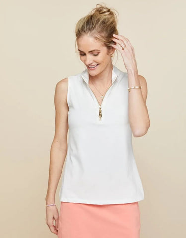 Spartina Spartina Serena Half-Zip Top Pearl White available at The Good Life Boutique
