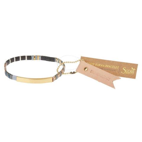 Scout Curated Wears Good Karma Miyuki Bracelet - Strength & Grace - Gunmetal/Gold available at The Good Life Boutique