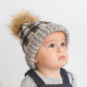Grey Buffalo Check Pom Pom Beanie Hat