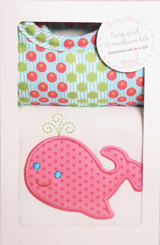 3 Marthas Pink Whale Burp Pad & Medium Bib available at The Good Life Boutique