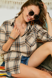 Plaid Flannel Button-Up Shirts w/Front Pocket
