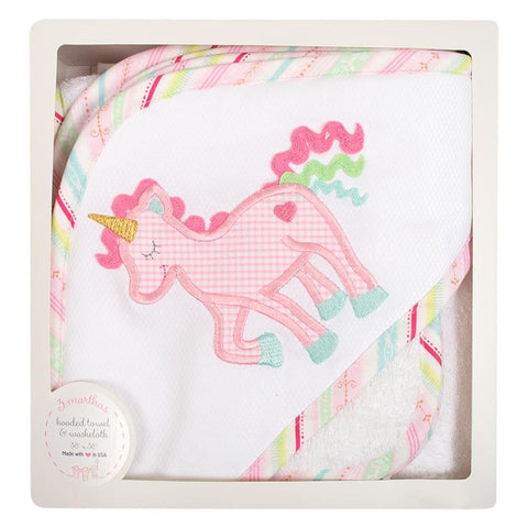 Unicorn Boxed Hooded Towel & Washcloth Set