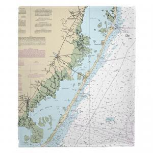 LBI, NJ Nautical Chart Fleece Throw Blanket