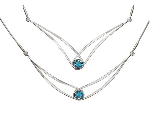 e.l. levin (formerly Ed Levin) - Gemstone Swing Necklace in Sterling Silver with Blue Topaz