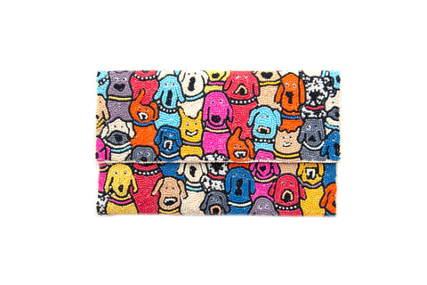 Beaded Half Flap Clutch - Dogs