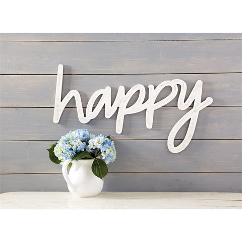 Mud Pie Happy Wood Wall Art available at The Good Life Boutique