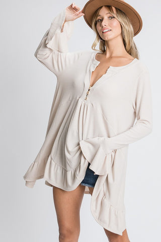 Hopely Solid Tunic With Buttons and Ruffled Hem available at The Good Life Boutique