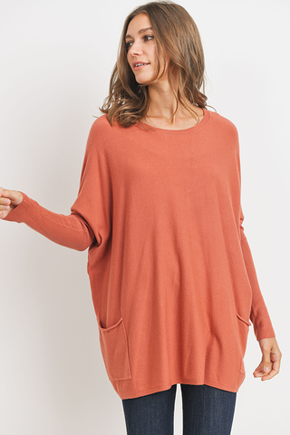 Oversized 2 Pocket Sweater - Clay