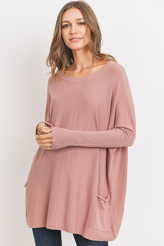 Oversized 2 Pocket Sweater in Dusty Rose