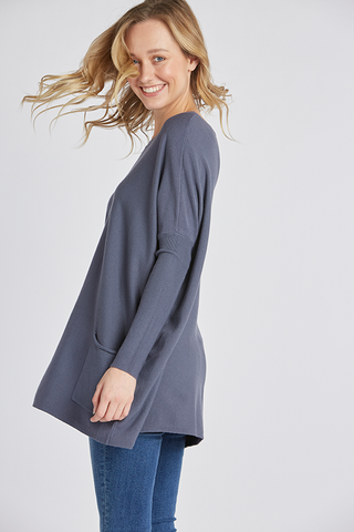 Oversized 2 Pocket Sweater - New Indigo