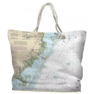 LBI, NJ Nautical Chart, Tote Bag
