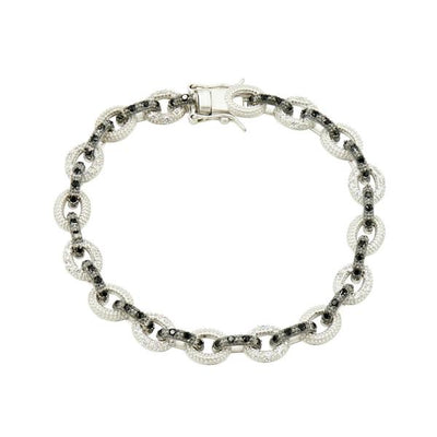 Freida Rothman - Industrial Finish Altemating Pave Large Link Bracelet