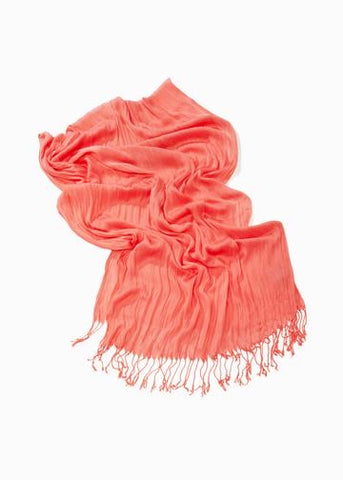 Look By M Solid Scrunch Scarf - Coral available at The Good Life Boutique