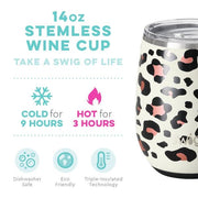 Swig Swig 14oz Stainless Steel Stemless Cup - Luxy Leopard available at The Good Life Boutique