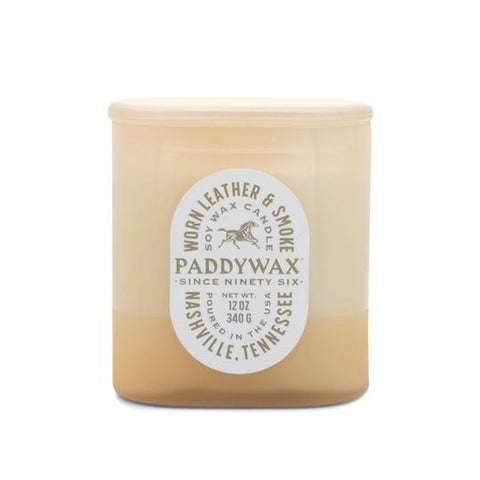 Paddywax Paddywax Vista 12oz Candle - Worn Leather & Smoke available at The Good Life Boutique