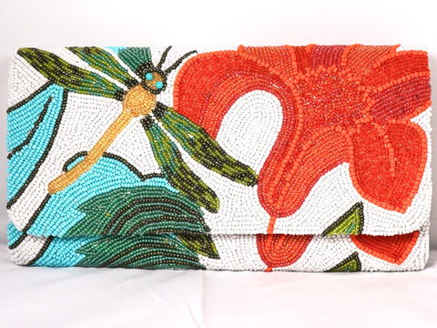 Tiana Designs Nedium Structured Clutch -White/Orange/Green available at The Good Life Boutique