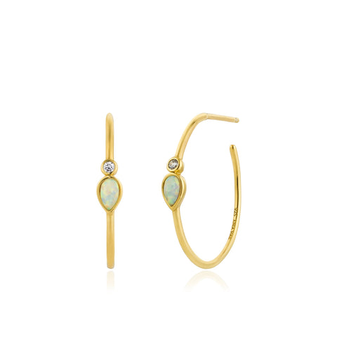 ANIA HAIE Opal Color Raindrop Gold Hoop Earrings available at The Good Life Boutique