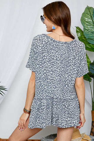 Notch Neck Leopard Flare Top