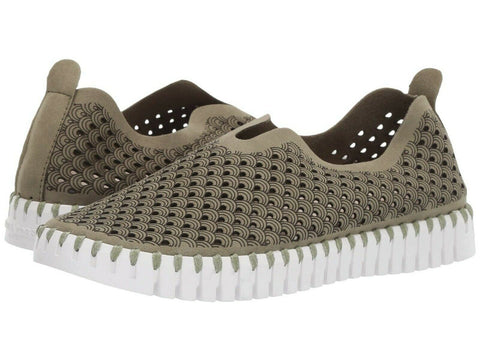 Lines of Denmark Ilse Jacobsen Tulip Slip-on with White Sole - Army available at The Good Life Boutique