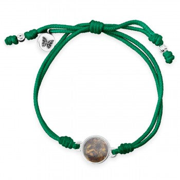 TTW - Green Butterfly Bracelet With LBI Sand - Rainforest Conservation