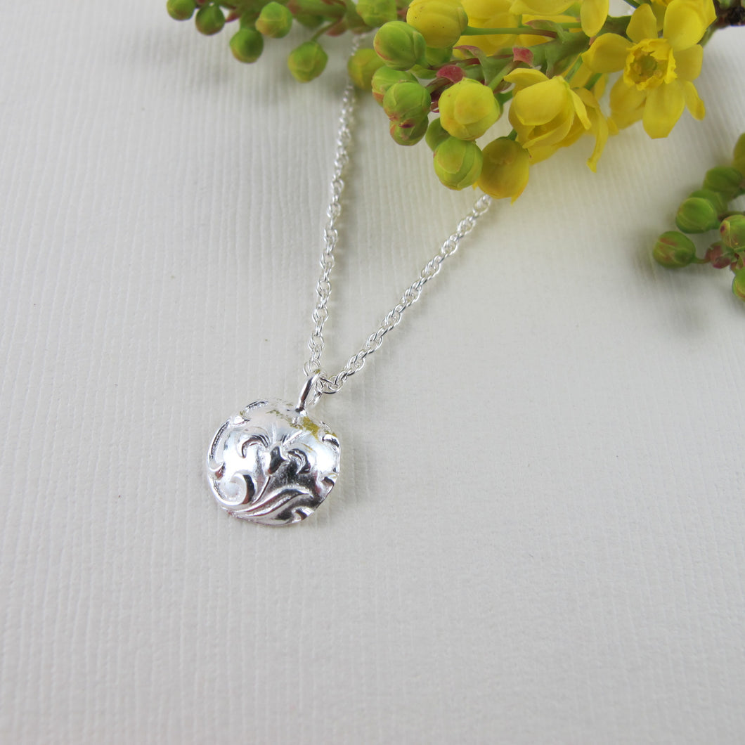 Vintage iris button imprinted necklace - Swallow Jewellery