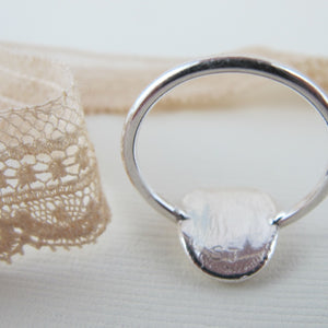 1890's vintage French lace imprinted oval ring - Swallow Jewellery