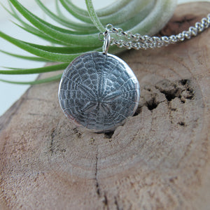 Sand dollar imprinted long necklace from Miracle Beach, Vancouver Island - Swallow Jewellery