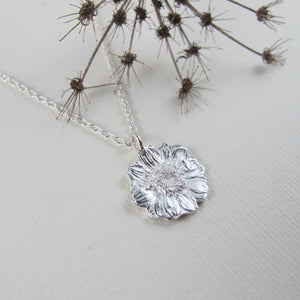 Mini daisy imprinted necklace from Victoria, BC - Swallow Jewellery