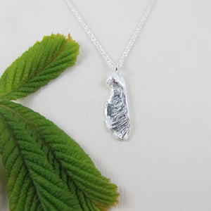 Small maple seed pod imprinted necklace from Victoria, BC - Swallow Jewellery