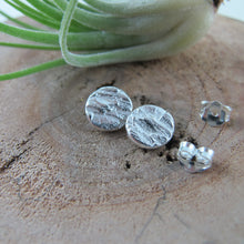 Load image into Gallery viewer, Douglas Fir tree bark imprinted earring studs from Victoria, BC - Swallow Jewellery