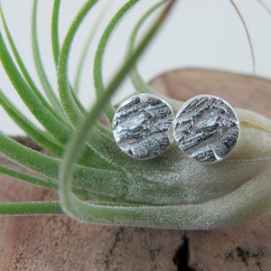 Douglas Fir tree bark imprinted earring studs from Victoria, BC - Swallow Jewellery
