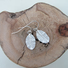 Load image into Gallery viewer, Wild rose leaf imprinted dangle earrings from Victoria - Swallow Jewellery
