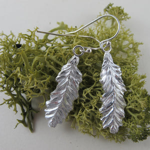 Coastal Redwood leaf imprint dangle earrings from Victoria, BC - Swallow Jewellery