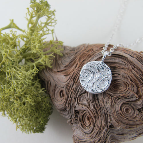 Driftwood imprinted necklace from Mystic Beach, Vancouver Island - Swallow Jewellery
