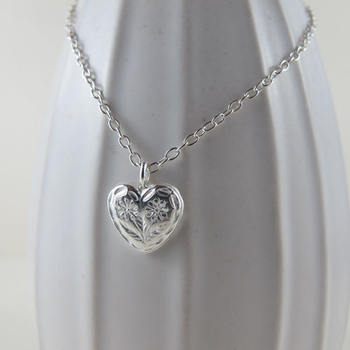 Vintage heart button imprinted necklace - Swallow Jewellery
