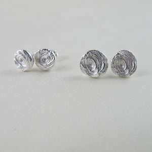 Driftwood imprinted earring studs from Mystic Beach, Vancouver Island - Swallow Jewellery