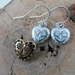 Vintage heart button imprinted earrings - Swallow Jewellery