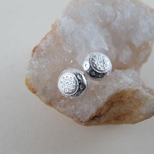 1920's vintage button imprinted earring studs - Swallow Jewellery