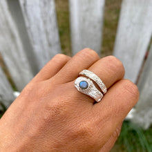 Load image into Gallery viewer, Barnacle wrap ring with labradorite from Kin Beach and Tofino, Vancouver Island from Swallow Jewellery